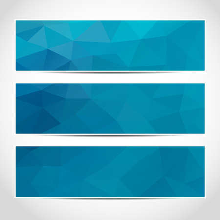 Illustration for Set of trendy blue banners template or website headers with abstract geometric background.  - Royalty Free Image