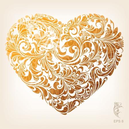 Illustration pour Ornamental Gold Heart Pattern - image libre de droit