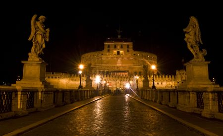 famous Castel Sant Angelo in Rome at night