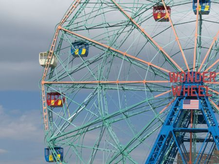 famous old ferris wheel on Coney Island, NYC