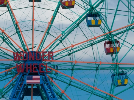 detail of the famous Wonder Wheel at Coney Island