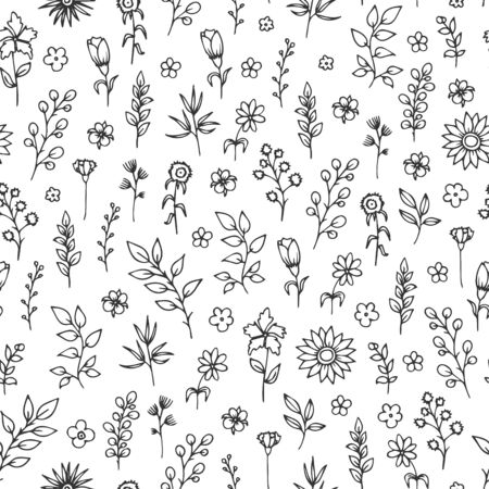 Illustration for Vector seamless pattern with hand drawn herbs and flowers on white background. - Royalty Free Image
