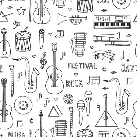 Illustration pour Musical background. Seamless pattern with hand drawn doodle musical instruments on white background. - image libre de droit