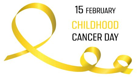 Illustration for International childhood cancer day. Poster with yellow ribbon. Medical banner. International health campaign. World childhood cancer symbol. Medical treatment. Global concept. Hope emblem. Health care - Royalty Free Image
