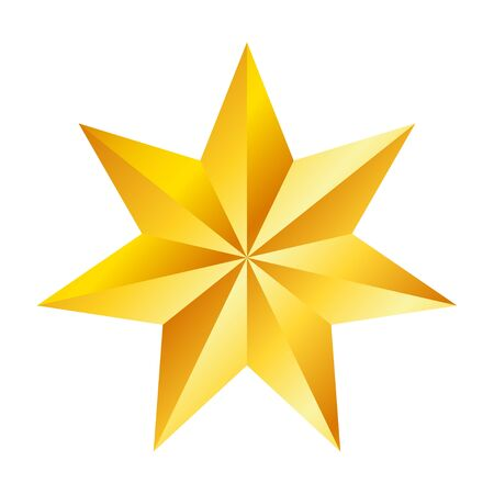 Illustration pour Golden seven pointed star, great design for any purposes. Realistic vector effect. Abstract vector illustration. Celebration concept. Luxury template design. Bright shiny illustration - image libre de droit
