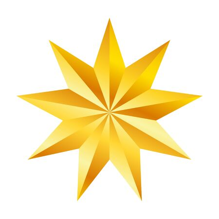 Illustration for Golden nine pointed star, great design for any purposes. Realistic vector effect. Abstract vector illustration. Celebration concept. Luxury template design. Bright shiny illustration - Royalty Free Image