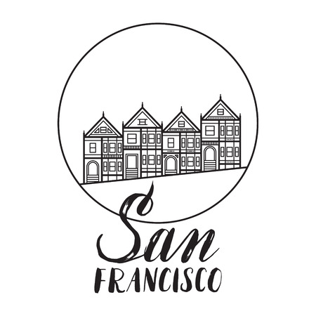 San Francisco Illustration With Modern Lettering And Painted