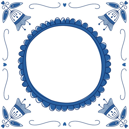 Dutch Delft blue tile with a place for a text or picture. EPS 10. No trasparency. No gradients.
