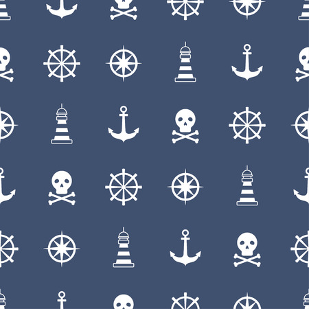 Seamless pattern with nautical symbols