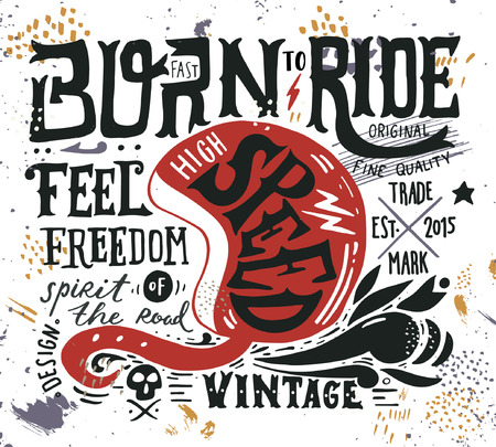 Illustration pour Hand drawn grunge vintage illustration with hand lettering and a retro helmet, skull and decoration elements. This illustration can be used as a print on t-shirts and bags, stationary or as a poster. - image libre de droit