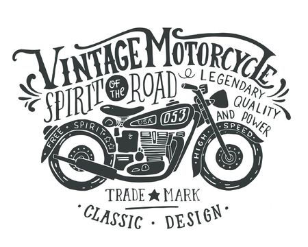Photo for Vintage motorcycle. Hand drawn grunge vintage illustration with hand lettering and a retro bike. This illustration can be used as a print on t-shirts and bags, stationary or as a poster. - Royalty Free Image