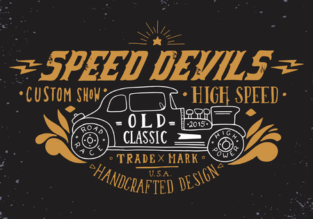 Ilustración de Speed devils. Hand drawn grunge vintage illustration with hand lettering and a old timer car. This illustration can be used as a print on t-shirts and bags, stationary or as a poster. - Imagen libre de derechos