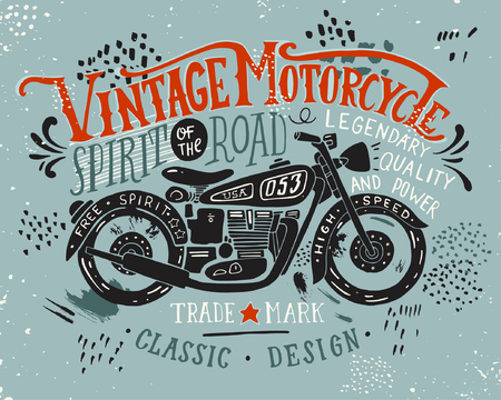 Ilustración de Vintage motorcycle. Hand drawn grunge vintage illustration with hand lettering and a retro bike. This illustration can be used as a print on t-shirts and bags, stationary or as a poster. - Imagen libre de derechos