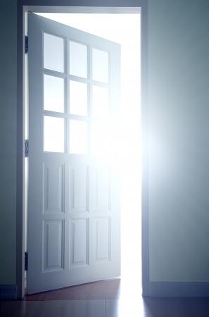 Door opening into the bright light