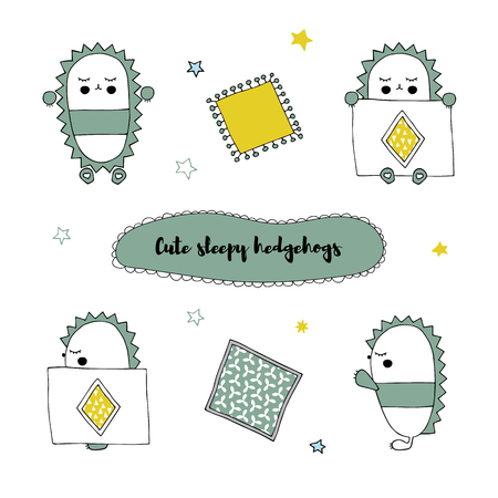 Vector set of hand drawn isolated elements, sleepy hedgehog in different positions. Cute character. Simple design, Scandinavian style. For kids fashion, room decoration, wall art