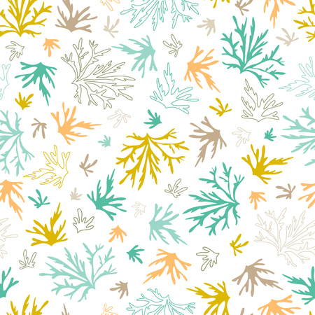 Illustration pour Sea seamless pattern. Underwater world, multicolored corals. Vector bright background. Can be used for wallpaper, stationery, scrapbooking, home decor and textile, fabric prints. - image libre de droit