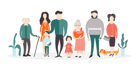 Vector flat people characters. A big happy family portrait. Father and mother with their children and grandparents, cat and dog isolated on white background.