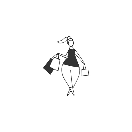 Attractive overweight woman on shopping. Hand drawn vector icon. Body positive, plus size concept. Perfect for large-size clothing stores and resources devoted to the harmony with your body.