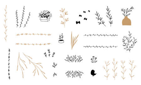 Illustration pour Set of vector minimalistic hand drawn floral icons. Flowers and leaves. - image libre de droit