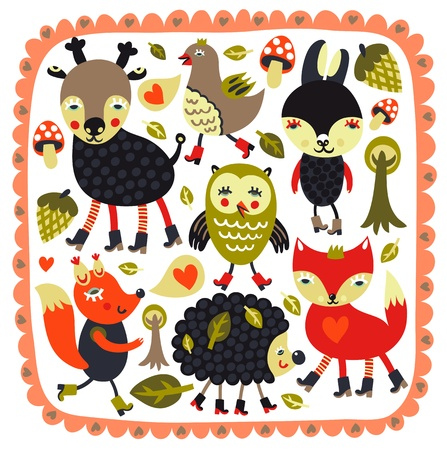 Cute background with woodland animals and birdsのイラスト素材