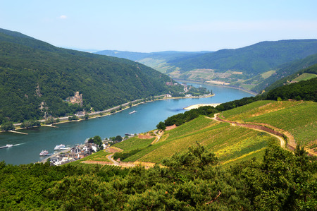 Amazing view over the river Rhine from the top of the hill in Rudesheim, Germany