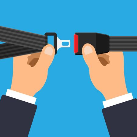 Illustration pour Vector seat belt icon isolated on blue background. Hands fasten a seat belt. Safety equipment for car and plane. - image libre de droit