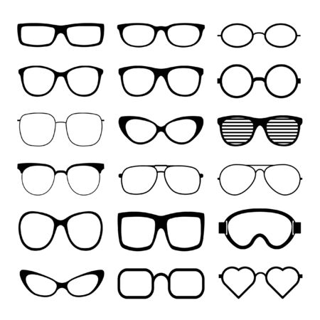 Illustration for Sunglasses icon set vector template. Transparent sunglass, mens and women glasses silhouette. Vector illustration. - Royalty Free Image