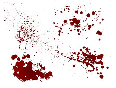 Illustration for Set of realistic bloody splatters. Drop and blob of blood. Bloodstains Isolated. Vector illustration isolated on white background. Red puddles. - Royalty Free Image