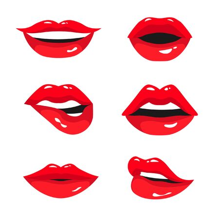 Illustration pour Red female lips collection. Set of sexy woman's lips expressing different emotions: smile, kiss, half-open mouth and biting lip. Vector illustration isolated on white background. - image libre de droit