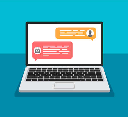 Illustration pour Chat bot concept. Open laptop with dialog boxes. Chatting between robot and human on a computer display. Flat design of messaging bubbles. - image libre de droit