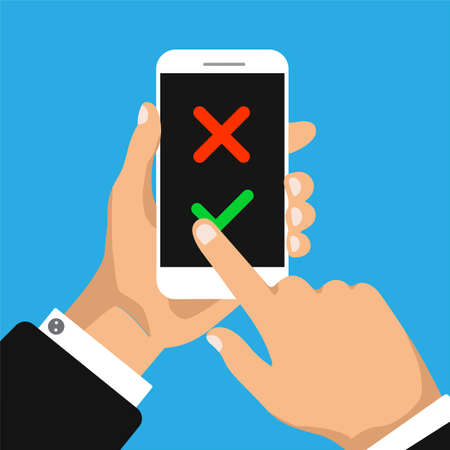 Illustration pour Check list on a smartphone screen. To do list concept. Hand holds smartphone and finger touch screen. Vector illustration. - image libre de droit
