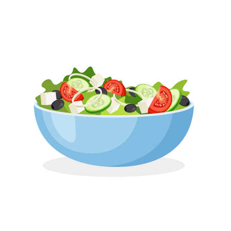 Illustration for Greek salad on a plate. Set of fresh vegetables in a bowl. Vector illustration isolated on a white background. - Royalty Free Image