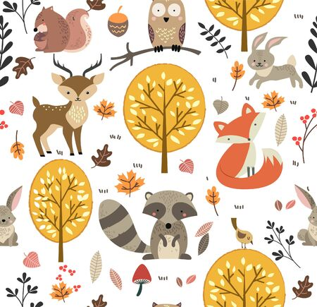 Illustration for Forest animals seamless pattern background vector illustration - Royalty Free Image