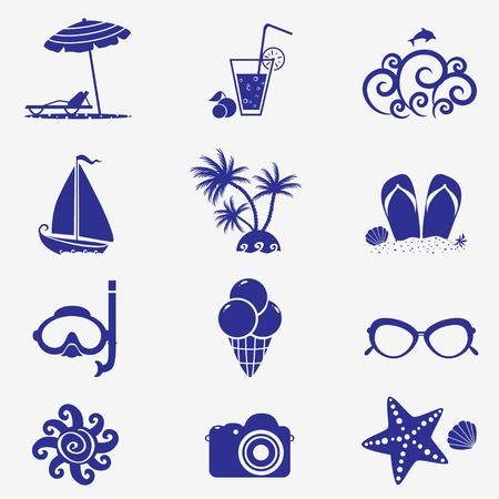 summer icons blue