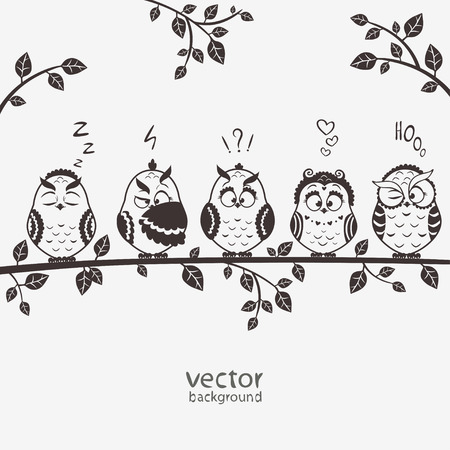 illustration of five silhouette funny emoticon owls sitting on a branch