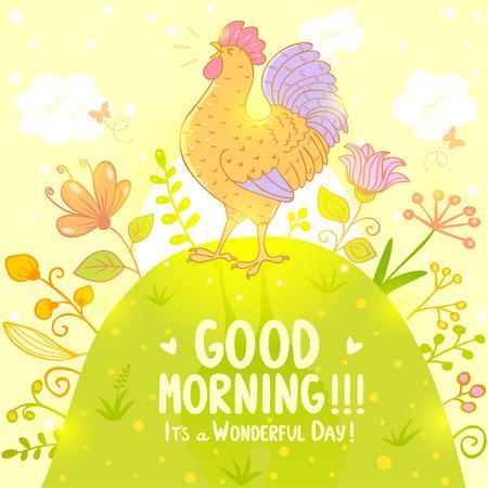 Stylish illustration with beautiful and sweet singing cockerel
