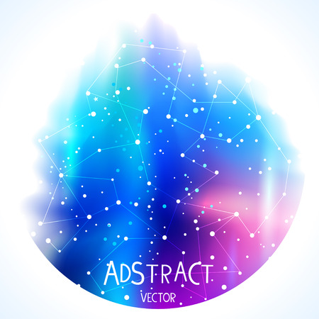 Vector illustration. Beautiful abstract dark blue space background in circle