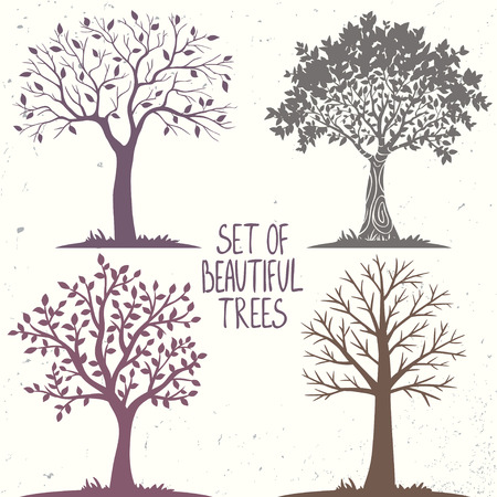Beautiful set of silhouette amazing trees for design. Vector illustration