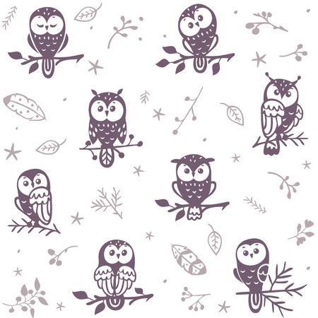 Ilustración de Beautiful seamless pattern with silhouette cute owls. Vector illustration - Imagen libre de derechos