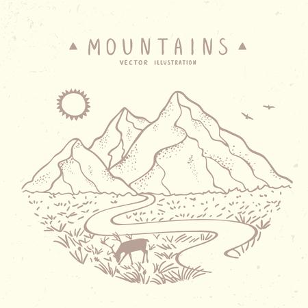 Illustration pour Beautiful vector illustration nature mountains. Hand drawn sketch. - image libre de droit