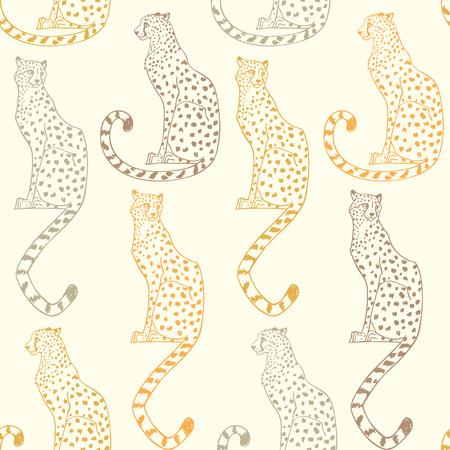 Ilustración de Beautiful seamless pattern background with amazing animal cheetah. Vector illustration - Imagen libre de derechos