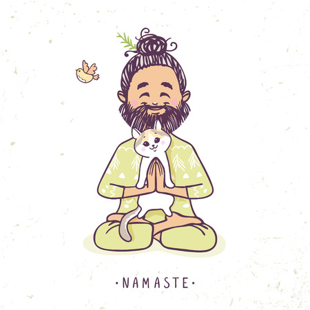 Illustration for Character positive man with cute cat in greeting pose namaste. Vector illustration. Practicing Yoga - Royalty Free Image