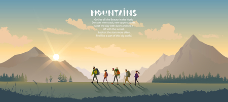 Illustration pour Cartoon character traveling people. Climbing on mountain. Vector illustration hiking and climbing team - image libre de droit