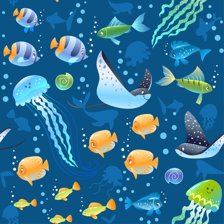 Illustration pour Sea Seamless pattern background with beautiful cartoon fish, turtle, and other swimming underwater. Cool wallpaper. Vector illustration - image libre de droit
