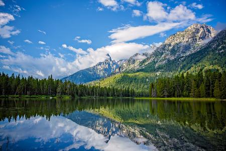 Beautiful String Lake Mountain Landscape near Jackson, Wyoming, USA