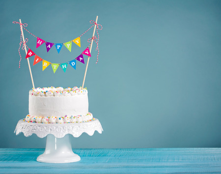Marvelous White Buttercream Birthday Cake With Colorful Bunting And Funny Birthday Cards Online Elaedamsfinfo