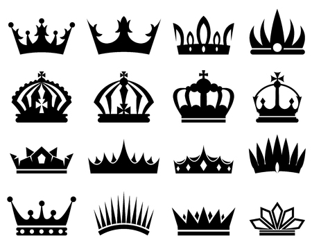 Illustration for Crowns silhouette set, collection of black silhouettes on white background - Royalty Free Image