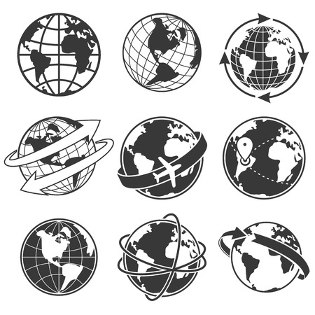 Globe concept illustration set, monochrome image on white background