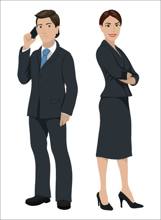 European business people. Man and woman in official suits, isolated on white