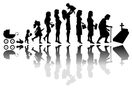 Time passing woman concept. Illustration of life from birth to death